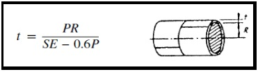 Formula for calculation of pressure vessel shell thickness