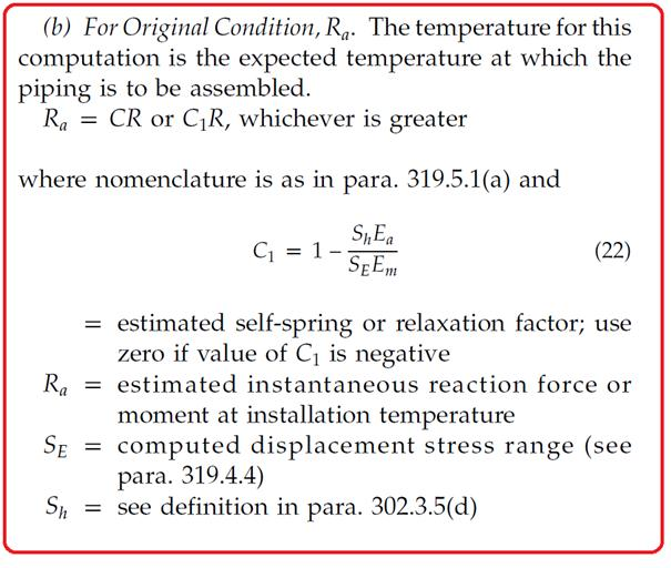 End Reaction at Installation Temperature (as per B31.3)