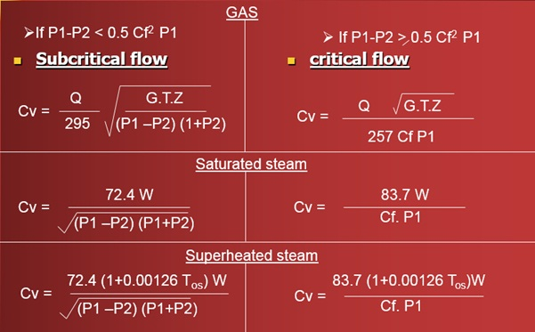 Cv Calculation Gas and Steam
