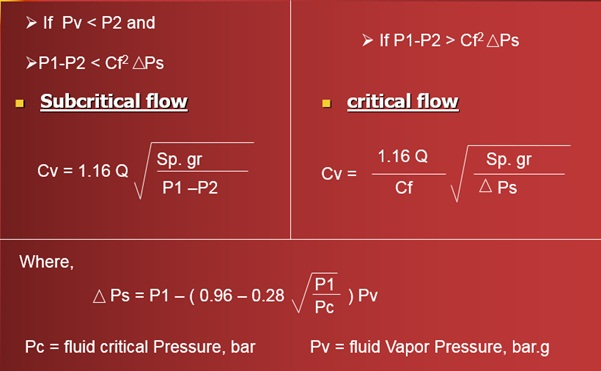 Cv Calculation Liquid flow
