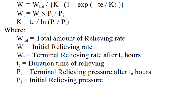 Relieving rate Calculation