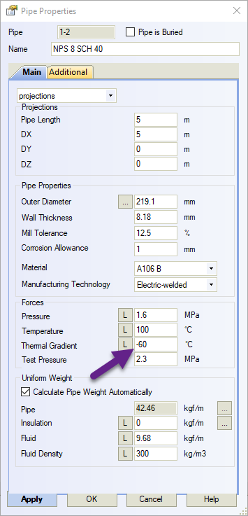 Specifying Thermal Bowing in Start-Prof
