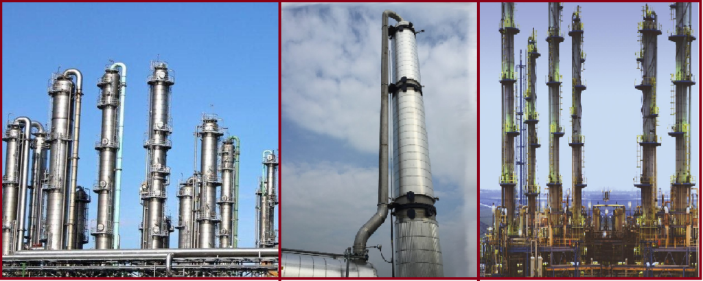 Fractionation Towers or Distillation Columns in Process Plants