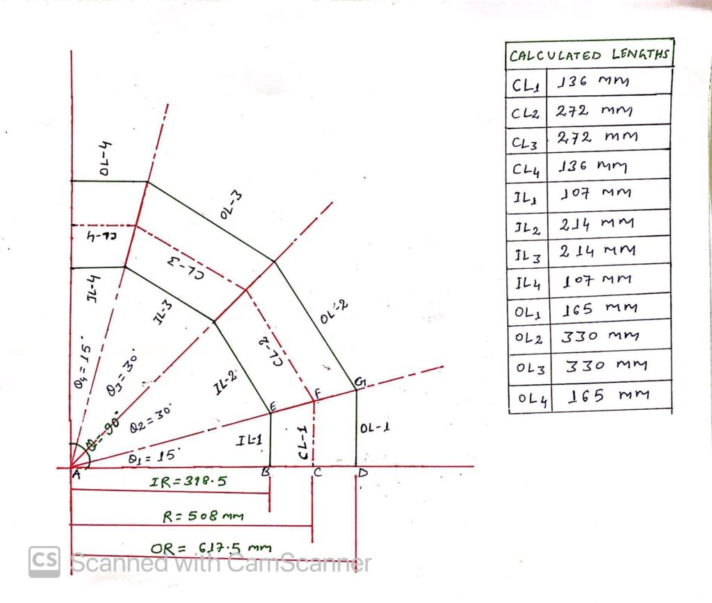 Sketch of Miter Bend for Calculation