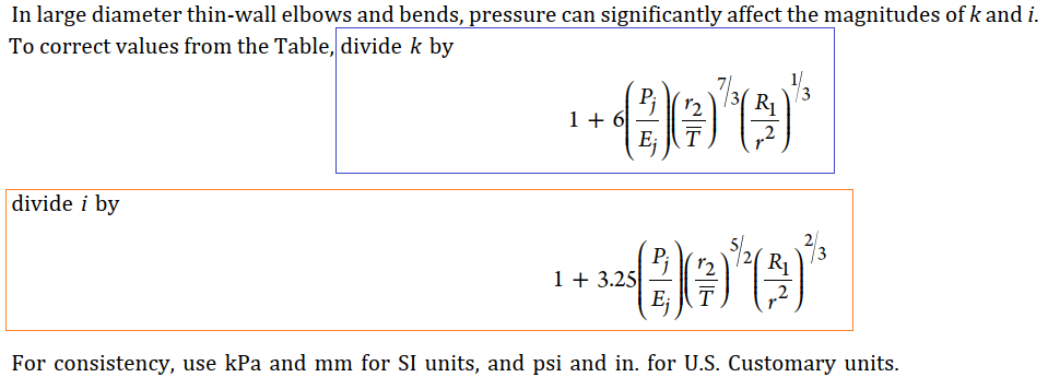 B31.3 Excerpt related to Pressure Stiffening of Bend