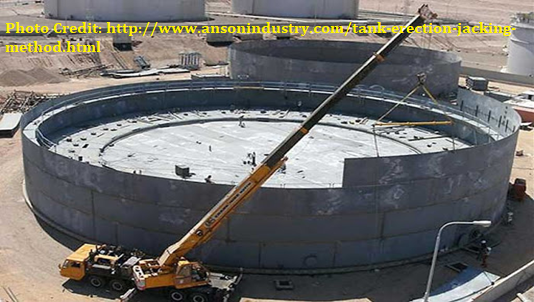 Double deck floating roof tank erection by conventional method