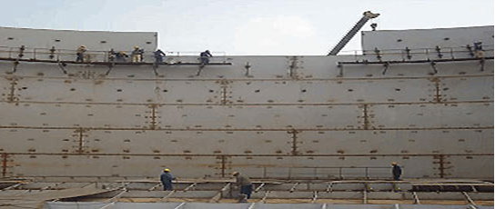 Tank erection by conventional method