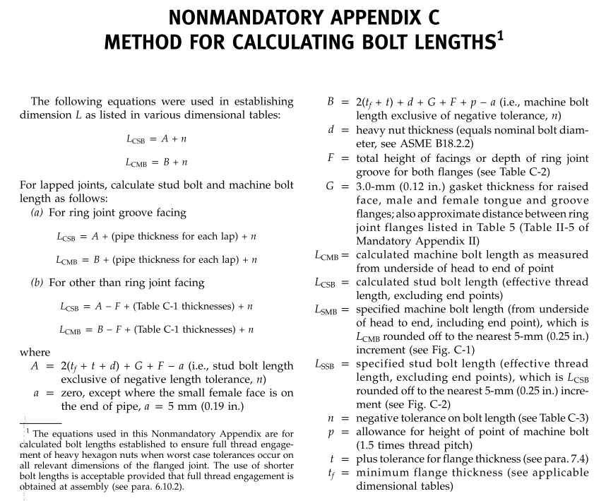 Bolt Length Calculation for Bolted Joints