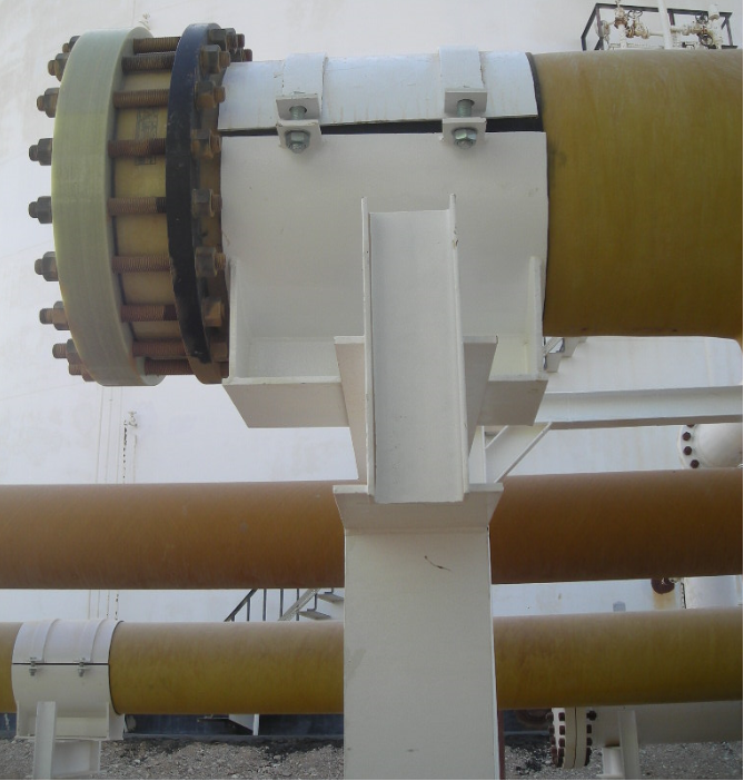 Clamped shoe support on GRP Pipes