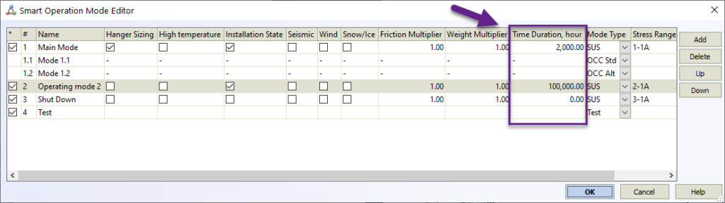 Time Duration in Operation mode editor