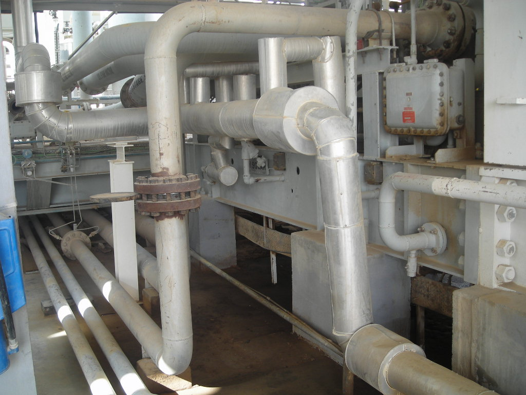 Insulated and Non-insulated piping in Operating plant