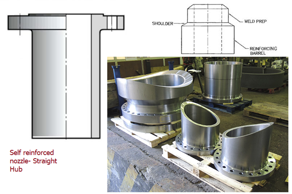 Self reinforcement nozzles with straight and variable hubs