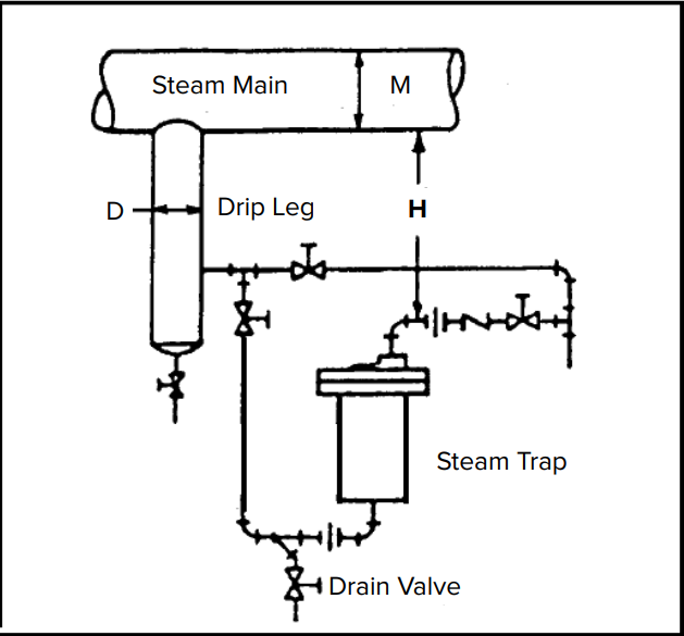 Typical Drip Leg Loops from Steam Mains