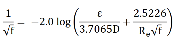 Colebrook Equation for calculating friction factor using Reynold's number