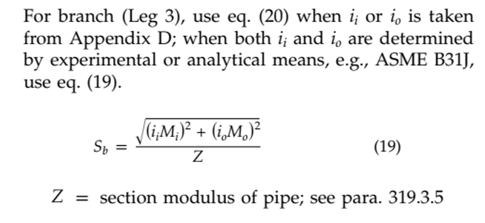 Branch Pipe Section Modulus
