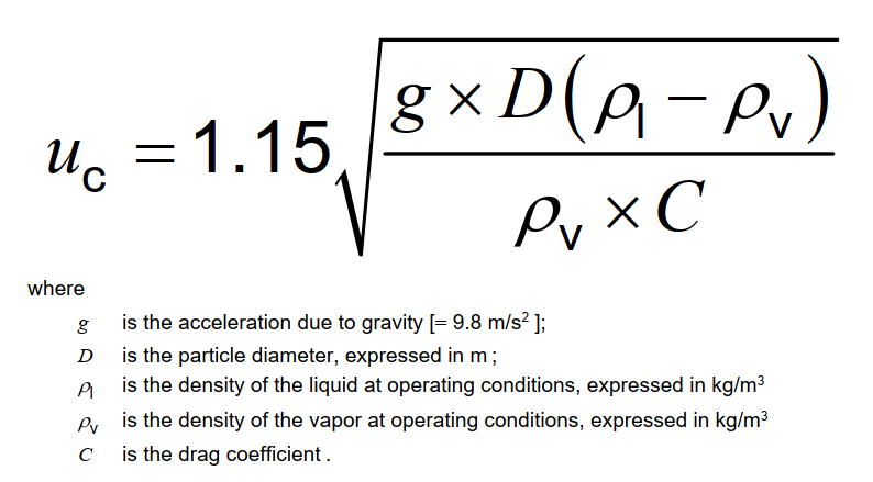Equation for drop out velocity