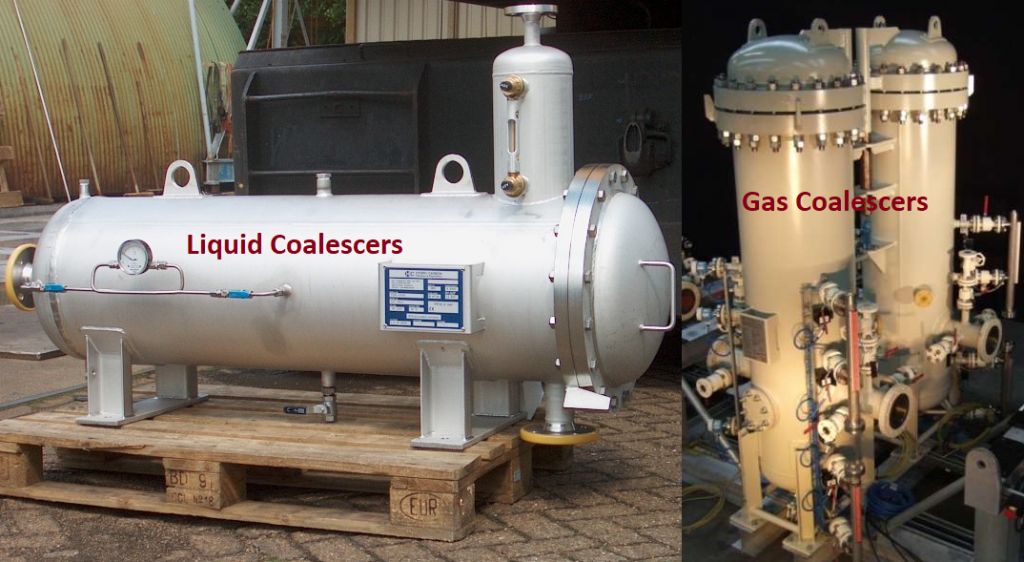 Typical Example of liquid and gas coalescers