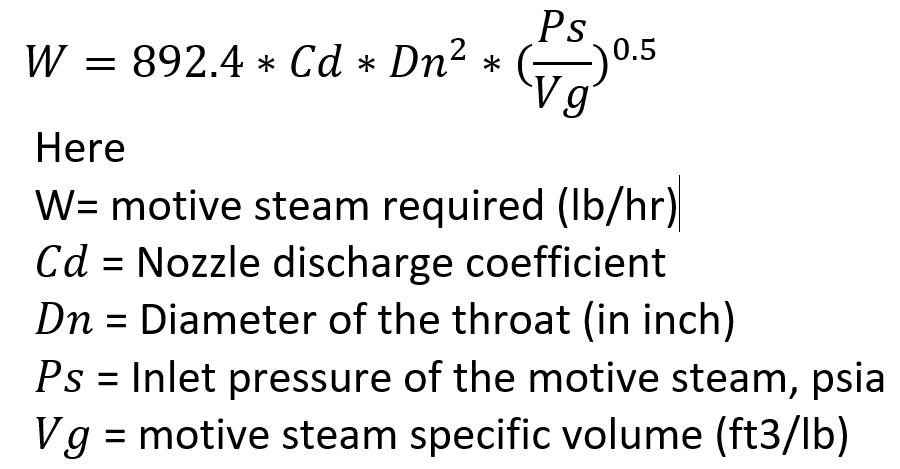 Equation for Flow Rate of Motive Steam